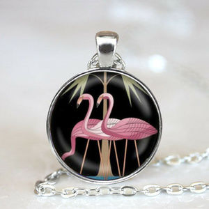 Silver Pink Flamingos Cabochon Pendant Necklace